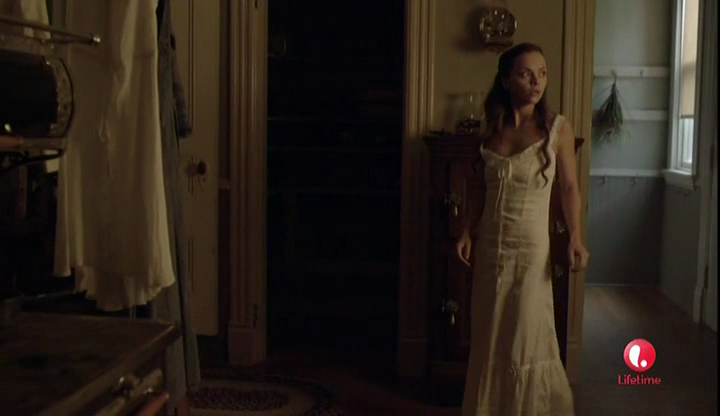 Lizzie dons her 1892 eyelet maxi dress from ASOS for MURDER.